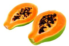 Papaya. Halves of papaya. Tropical fruit Stock Photos