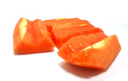 Papaya. Cutted papaya fruits on white background with sharow Royalty Free Stock Photos