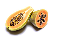 Papaya. Tropical fruit on white background royalty free stock photos