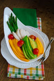 Papaya, avocado, asparagus, cherry tomatoes and chicken breast salad Royalty Free Stock Images