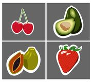Papaya avocado cherry strawberry Stock Image