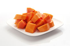 Papaya chunks. Royalty Free Stock Images