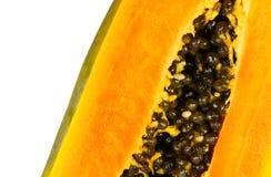 Papaya closeup. Papaya slice closeup with a white background Stock Photo
