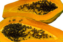 Papaya, cut two hemispheres. Royalty Free Stock Image