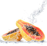 Papaya falling in water. Fresh papaya falling in water Royalty Free Stock Images