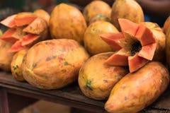 Papaya on farm market stalls in Caribbeans Stock Photography