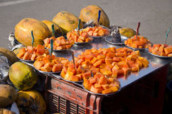Papaya fruit in asian street market, India Royalty Free Stock Image