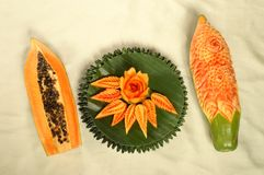 Papaya fruit carving  Royalty Free Stock Photography