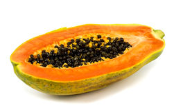 Papaya fruit close up isolated on white background Royalty Free Stock Images