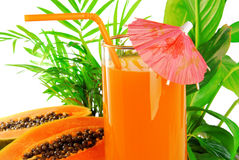 Papaya fruit and glass of juice Stock Images