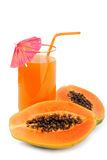 Papaya fruit and glass of juice Royalty Free Stock Image