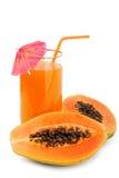 Papaya fruit and glass of juice. Isolated on white Royalty Free Stock Image