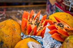 Papaya fruit India. Cut open at Agra market, India Stock Images