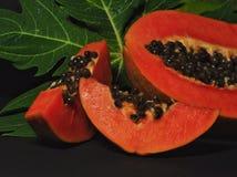 Papaya fruit isolated on black background royalty free stock images