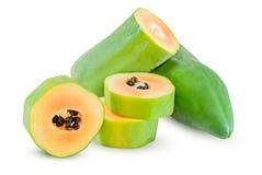 Papaya fruit isolated on white stock photography