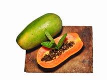 Papaya fruit isolated on white background stock photography