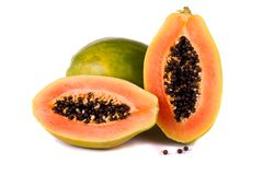 Papaya fruit on white Stock Photos