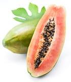 Papaya fruit on a white background. Stock Photos