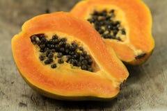 Papaya fruit on wood Royalty Free Stock Photography