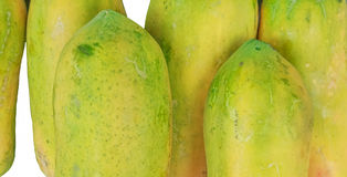 Papaya Fruit yellow focus area. Royalty Free Stock Photo