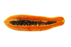 Papaya fruits. Half cut papaya isolated on white background stock photo