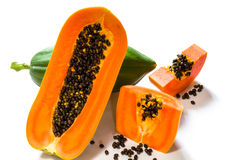 Papaya fruits. Isolated on white background Stock Photos