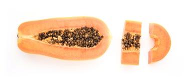 Papaya fruits isolated on white background. Stock Photos