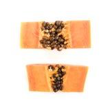 Papaya fruits isolated on white background. Royalty Free Stock Photography