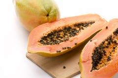 Papaya Halved With A Longitudinal Cut Stock Photography