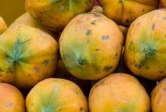 Papaya heap. Heap of yellow papaya texture Royalty Free Stock Photos