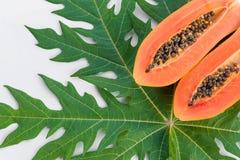 Papaya on its leaf on white background Royalty Free Stock Photo