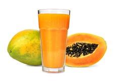 Papaya juice. Glass of papaya juice isolated Stock Image