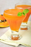 Papaya juice. Fresh blended papaya juice with a mint leaf Stock Photos