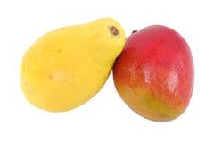 Papaya and mango. Isolated over white Stock Photos