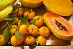 Papaya mango, banan och och mandarned över en metallisk silver Fotografering för Bildbyråer