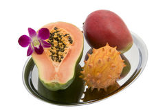 Papaya, Mango, Kiwano, Orchid Royalty Free Stock Photos