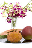 Papaya, Mango, Kiwano, Orchid Stock Photos