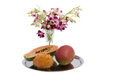 Papaya, Mango, Kiwano, Orchid Stock Images