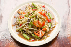 Papaya mix salad. Papaya salad Thai Food call somtum Royalty Free Stock Photo