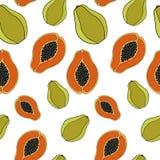 papaya Nahtloses Muster Stockfotografie