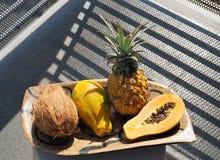 Papaya och frukt på plattan royaltyfria bilder