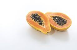 Papaya. Open Papaya on white bacjground Royalty Free Stock Images