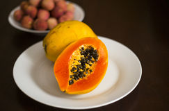 Papaya or Pawpaw On White Plate Royalty Free Stock Photos