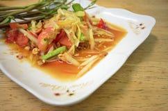 Papaya pok pok. Somtum thaifood or papaya pok pok Royalty Free Stock Photography