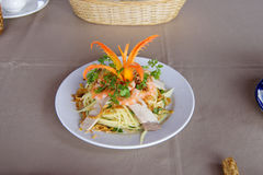 Papaya with pork and shrimp salad Royalty Free Stock Photo