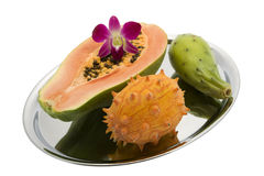Papaya, prickly pear, Kiwano, Orchid Stock Image