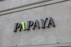 Papaya restail Speicherzeichen stockbilder