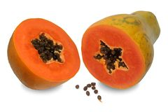 Papaya are rich in vitamin A and calcium. Papaya is a kind of fruit. When ripe will be yellow to orange. Simply cut the papaya in the half of the cavity. The stock photo