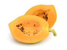 Papaya. Ripe papaya isolated on white Stock Images