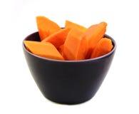 Papaya ripen slided in bowl Stock Image